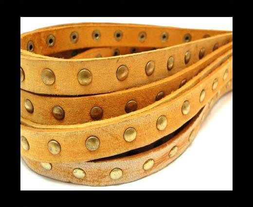 Real Nappa Leather with studs-10mm-Vintage Tan