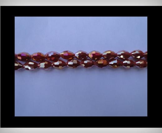 Rice Glass Beads-4mm*6mm-Wine Red AB