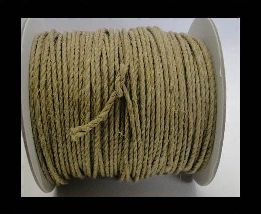 Round Braided Leather Cord - Natural -4mm