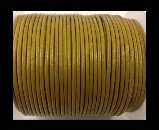 Round leather cord-2mm-metallic gold
