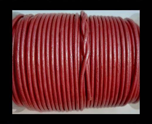 Round Leather Cord 1,5mm - METALLIC DARK PINK