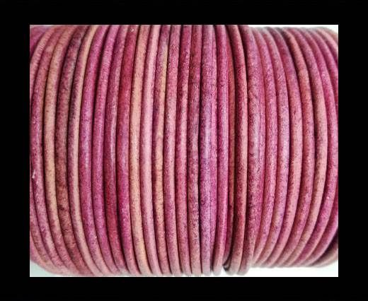 Round leather cord-2mm-vintage fuschia