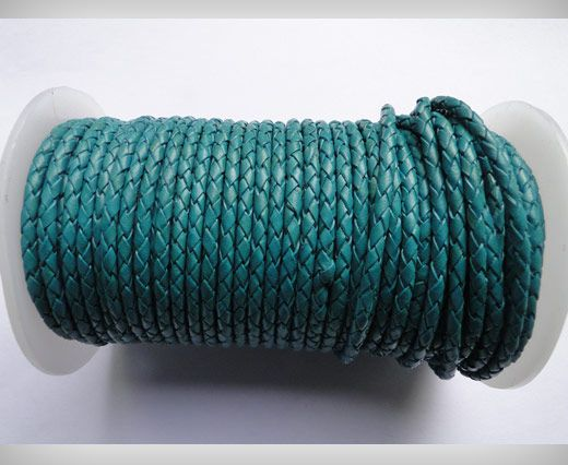 Round Braided Leather Cord SE/B/11-Bermuda Blue - 8mm