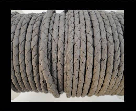 Round Braided Leather Cord SE/B/717-Light grey-8mm