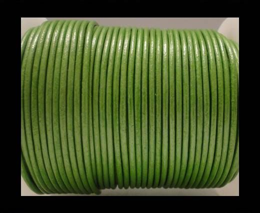 Round Leather Cord SE/R/Metallic Olive Green - 2mm