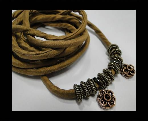 Real silk cords with inserts - 4 mm -  Camel