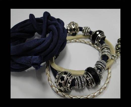 Cordones de seda rellenos de algodón - 4mm - Azul Oscuro