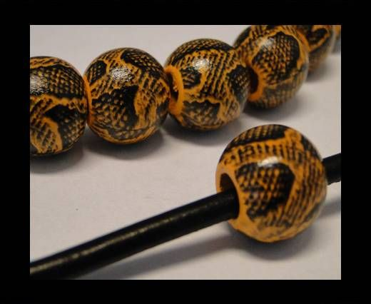 Snake Wooden Beads- Yellow -16mm,Hole 6mm