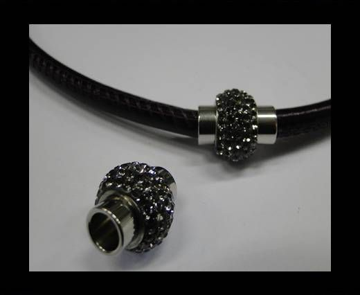 SSP-364-6mm-black quartz-Stainless Steel Findings and Parts