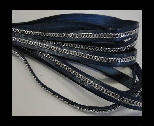 Stainless steel chain on leather-style 14-10mm-Navy Blue