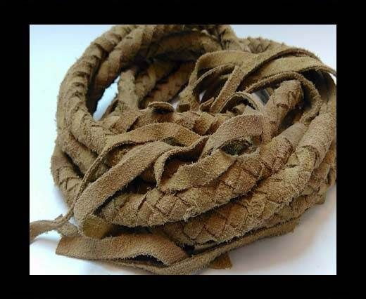 Suede Braided Belts with tassels - 8mm round -Natural