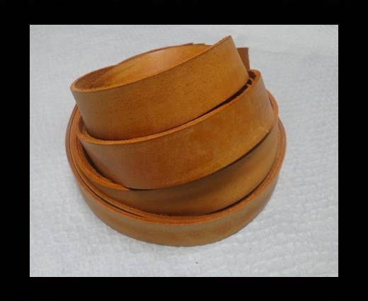 Vintage Style Flat Leather - 14mm-Vintage Tan