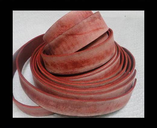 Vintage Style Flat Leather - 14mm-Vintage Red