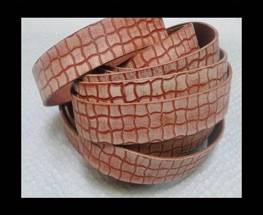 Vintage Style Flat Leather - 14mm-Vintage Tan Squares