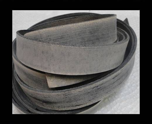 Vintage Style Flat Leather - 14mm-Vintage Light Grey