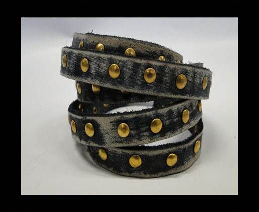 Vintage Style Flat Leather Studs-Gold-10mm-Black stripes