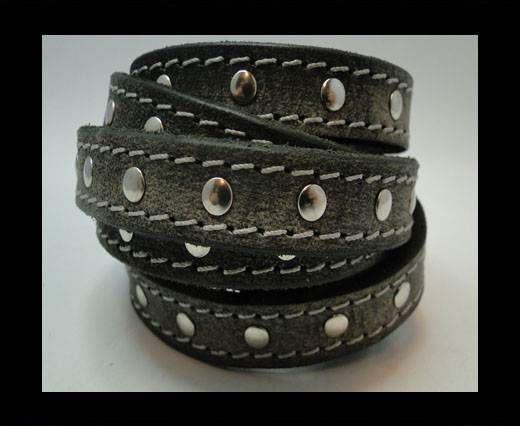 Vintage Style Flat Leather Studs-Silver-14mm-Dark Grey