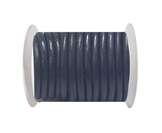 Round leather cord-4mm-  Dark blue