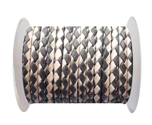 Round Braided Leather Cord SE/B/30-Dark Brown-Natural - 3mm