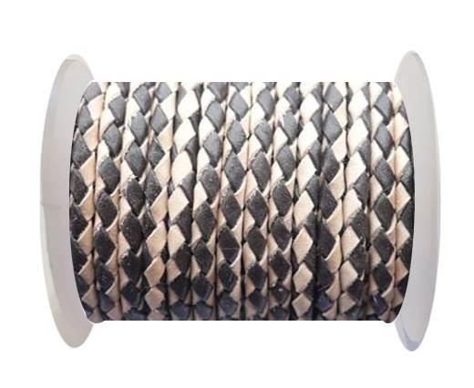 Round Braided Leather Cord SE/B/30-Dark Brown-Natural - 6mm