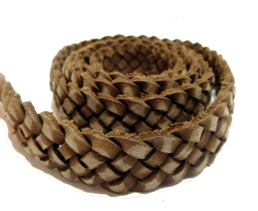Flat braided cord - 20mm by 4mm - Vintage Dark Brown