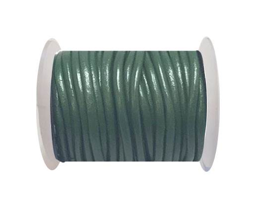Round leather cord-4mm-  Dark green