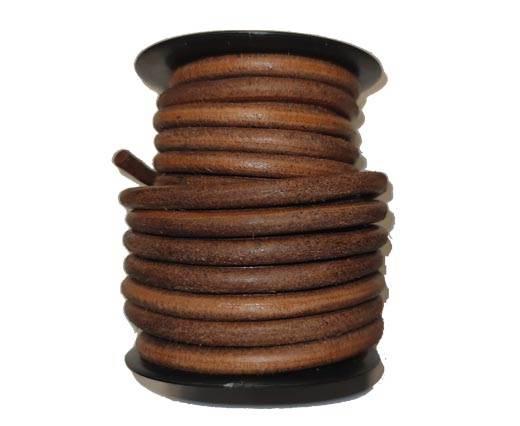 Round leather Cords - 8mm - Dark Natural
