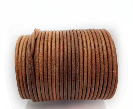 Round Leather cords  2,5mm - Dark Natural