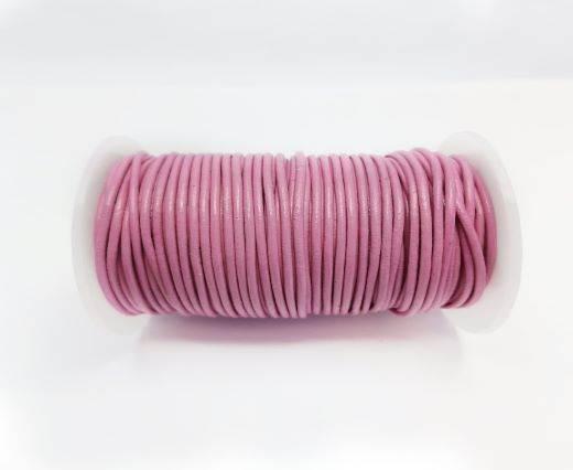 Round leather cord-2mm-DARK PINK