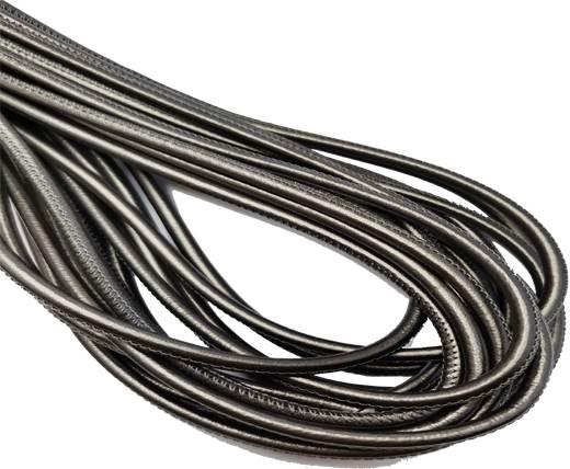 Round Stitched Nappa Leather Cord-4mm-dark silver1