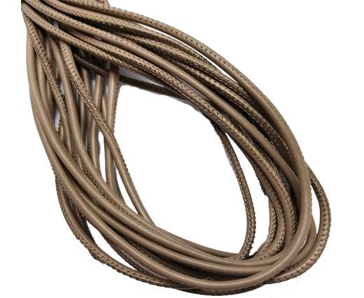 Round Stitched Leather Cord - 3mm - DARK TAUPE
