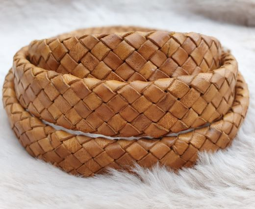Oval Braided Leather Cord-15mm-DB-02