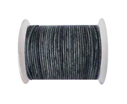 Round leather cord-2mm- Vintage Dark Blue(040)