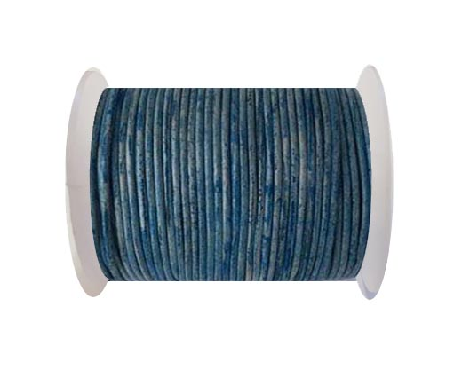 Round Leather Cord-1,5mm- Vintage Sky Blue