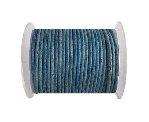 Round leather cord-4mm- Vintage Blue(038)