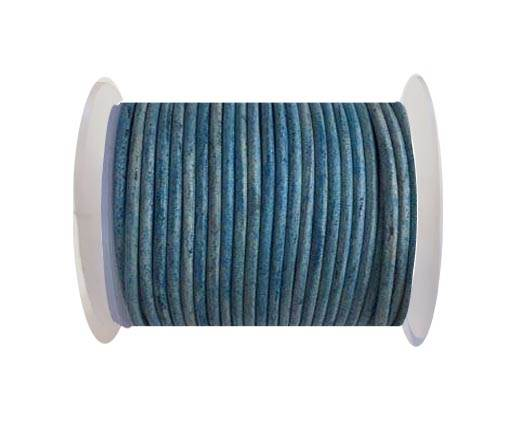 Round leather cord-3mm- Vintage Blue(038)
