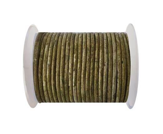 Round leather cord-4mm- Vintage Mehandi(027)