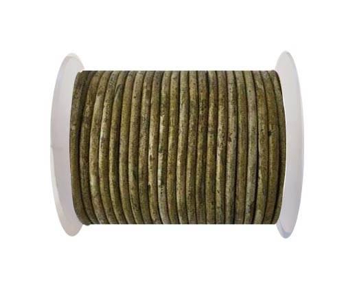 Round leather cord-3mm- Vintage Mehandi(027)