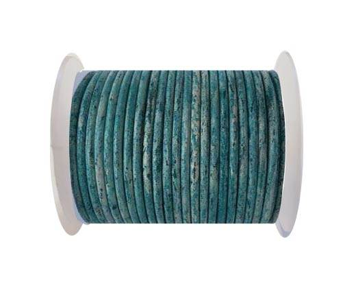 Round leather cord-4mm-  Vintage Turquiose(032)