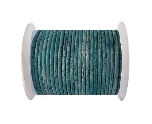 Round leather cord-3mm- Vintage Turquiose(032)