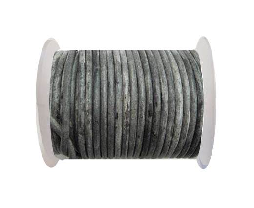 Round Leather Cord -  Vintage Black   -4mm