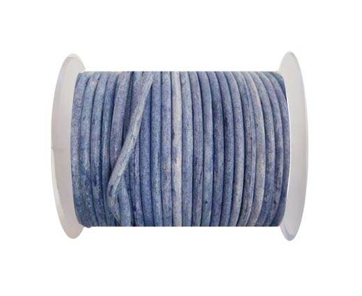 Round Leather Cord - Vintage Blue  -4mm