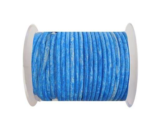 Round Leather Cord -  Vintage Sky Blue  -4mm