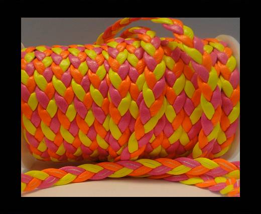 synthetic nappa leather Style-6-8mm-Mix Neon Pink