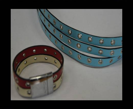 synthetic nappa leather with Rings 10mm-Blue