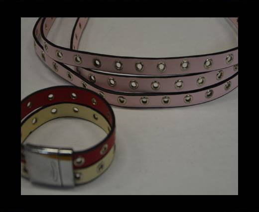 synthetic nappa leather with Rings 10mm-Pink