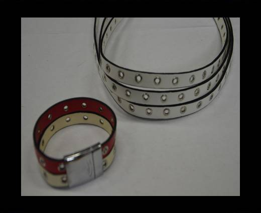 synthetic nappa leather with Rings 10mm-White