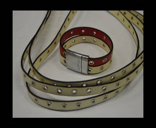 synthetic nappa leather with Rings 10mm-Beige