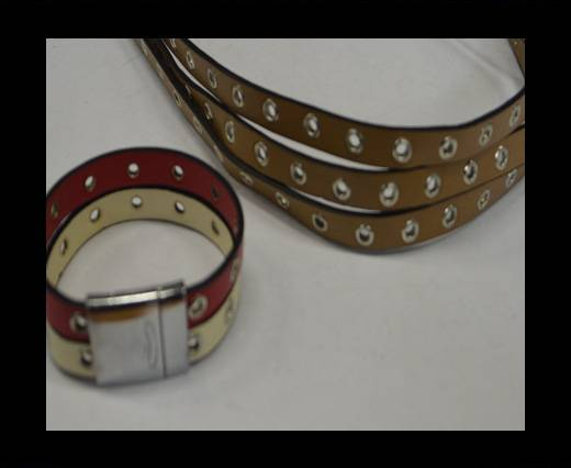 synthetic nappa leather with Rings 10mm-Light brown