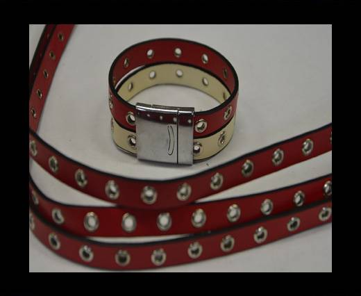 synthetic nappa leather with Rings 10mm-Red